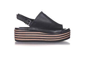 NWOB BATA Leather Slingback Sandals 9 Black Brown Striped Platform Heels Chunky