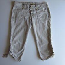 L.E.I. Junior 9 Womens Khaki Tan Stretch Capri Pants Cotton Capris