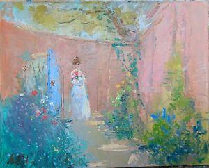 Secret garden-oil On Canvas-original- Painting-victorian-flowers-magical