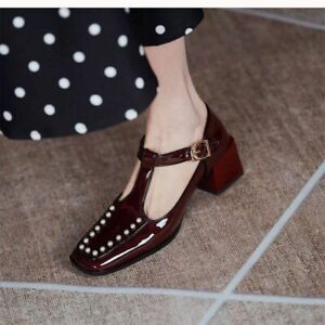 Women's high heels patent leather rivet square toe moccasin Mary Jane shoes 5cm