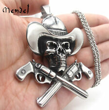 MENDEL Mens Large Skull Cowboy Pendant Necklace 30 Inch Stainless Steel Chain
