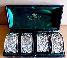 Tubé Set de 4 L'homme vert silver napkin rings par ELKINGTON & Co Ld C 1897