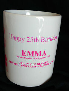 PERSONALISED  NAME MEANING  MUG 16th 18th 21st 30th 40th 50th 60th Birthday