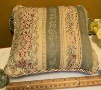 "Decorative Square Pillow Cushion Damask Green Fabric with Tassel & Zipper 8""x 8"""