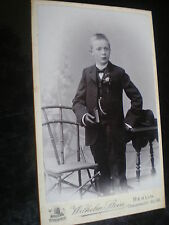 Cdv old photograph boy book by Stein at Berlin Germany c1900s Ref 506(6)