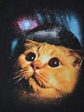 CAT KITTY STARING INTO SPACE GALAXY UNIVERSE BLACK MEDIUM T-SHIRT D188