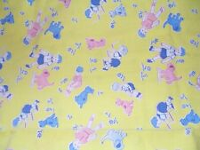 """Vintage feed sack cotton material yellow with kids and dog, 38"""" wide x 34"""""""
