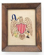 Patriotic Americana Eagle Liberty Stitched Completed Crewel Primitive Sampler