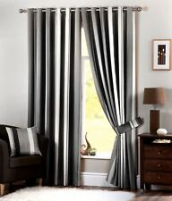 Curtina WHITWORTH - Ready Made Lined Vertical Stripe Eyelet / Ring Curtains