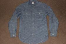 Mens XS X-Small J CREW Cotton Chambray Polka Dot Print Button Front Shirt