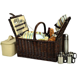 Picnic at Ascot Buckingham Full Reed Willow Basket for 4 w Coffee Service (714C)