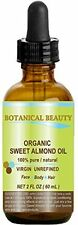 ORGANIC SWEET ALMOND OIL 100% Pure for Face Hair Body 2 oz. by Botanical Beauty