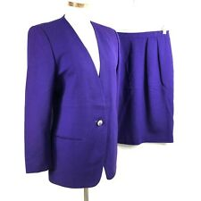Saville Petite Womens Solid Purple Wool Skirt Suit sz 12P