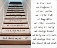 LARGE STAIRS RISERS IN THIS HOUSE RULES LAUGH HUG LOVE STICKER TRANSFER DECAL