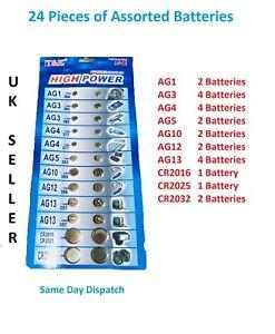 24 X ASSORTED Watch Cell BATTERY Batteries Jewellery AG1, AG3, AG4, AG5, AG10, A