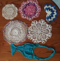 6 Assorted Vintage Hand-Made Crochet Doilies for Crafts Cutter