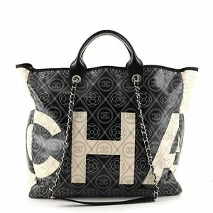 Chanel Logo Shopping Tote Printed Coated Canvas Large