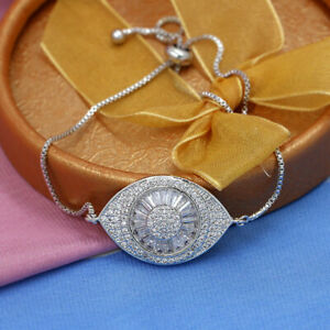 Evil Eye Crystal Bracelet Women Sparkling Jewelry Adjustable Zircon Accessories