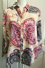 CHICOS Womens Button TOP Blue Pink Peach PAISLEY Long Sleeve Size 3P  16/18P