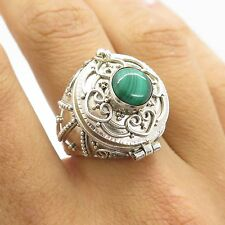 Vtg Sterling Silver Malachite Gem Gorgeous Handmade Women's Poison Ring Size 6.5