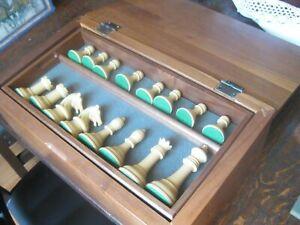 No# 4466 VINTAGE DRUEKE chess box with DRUEKE players choice pieces King 3'58s