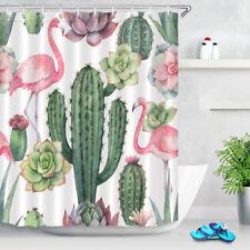 "Watercolor Flamingo Cactus Shower Curtain Bathroom Waterproof Fabric 12Hooks 72"""