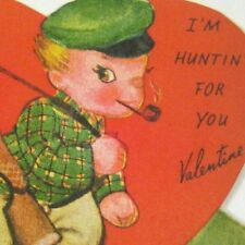 Valentine Card 1949 Used Hunter Hunting for You Valentine Gun Dog Pipe