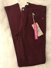 Women's Ashley Classic Size S Burgandy Mid Rise Skinny Fit Stretch Pants Jean