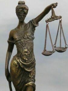 VINTAGE BLIND LADY JUSTICE BRONZE STATUE HOT CAST SCULPTURE ART DECO FIGURINE