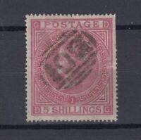 GB QV 1867 5/- Rose Plate 1 SG126 Fine Used (Slight Tear) JK1600