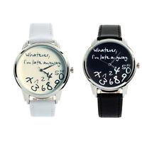 New Fashion Funny Women Men  Unisex Leather Analog Quartz Wrist Watch Watches
