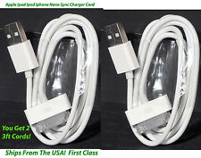 Apple Sync Charger Cord Get 2 - for Ipad Ipod Iphone - 3 foot - 30 Pin Gen 1 & 2