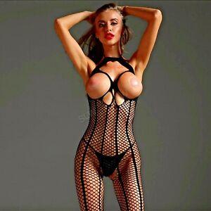 Kinky Fishnet Bodystocking Catsuit Fetish Cupless Breasts Boobs Body Bodysuit XX