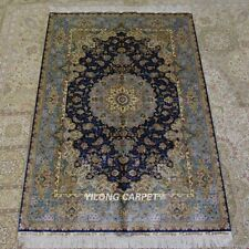 YILONG 4'x6' Handwoven Silk Carpet Home Furniture Blue Indoor Area Rug Z317A