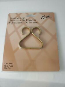 1 Pair Vintage KIRSCH Brass TULIP SWAG HOLDERS #470-063 USA - New & Free Ship