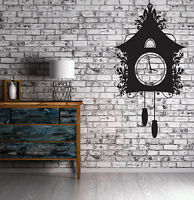 Wall Sticker Vinyl Vintage Cuckoo Clock Dreamlike House Chains Kettlebell (n497)