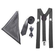 "Mens / Boys 3"" Tie, Braces, Bow Tie & Pocket Handkerchief Set -Usher Groom Stag"