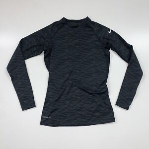 Women's Nike Pro Combat Long Sleeve Shirt Size Medium Black Gray