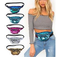 Sequins Glitter Bum Bag Travel Waist Fashion Pack Festival Belt Wallet Pouch UK