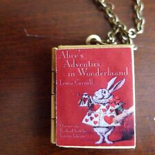 necklace Red Cover w/ Rabbit Alice's Adventures in Wonderland book Locket