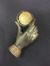Judaica Unique Paperweight Bronze Hand Holding A Coin Israeli 100 Pruta 1948