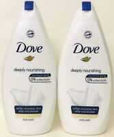 2 Bottles Dove 16.9 Oz Deeply Nourishing 1/4 Moisturizing Cream Body Wash