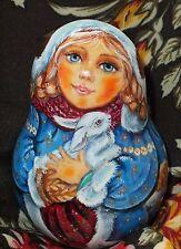 Russian matryoshka tumbler doll beauty girl rabbit handmade exclusive