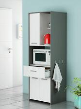 Armario alto auxiliar o bufe para cocina color blanco y gris grafito 180x60 cm