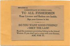 1946 Pennsylvania Fishing License & Button Envelope - Unused Envelope. No Button