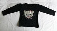 Girl2Girl Sweet Snow Leopard Black Long Sleeve T-Shirt 100% Cotton Size 3-4 Yrs