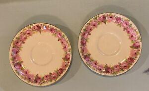 Royal Doulton 2x Saucers - Pink Roses
