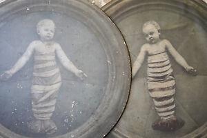 Antique Two c.1900 Gelatin Tondo Prints on Board of Putto by Della Robbia