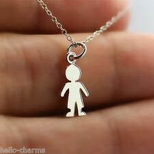 CUTOUT BOY NECKLACE - 925 Sterling Silver - Boy Charm Children Kids Playing Toys