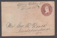 **US 19th Cent Postal Stationery Cover, Spring Valley, VA 3/14/1885 M/S Cxl DPO2